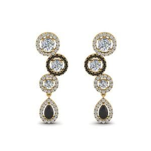 Black Diamond Halo Teardrop Earring