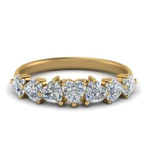 1.75 Ct. Seven Stone Heart Cut Diamond Wedding Ring In 14K Yellow Gold