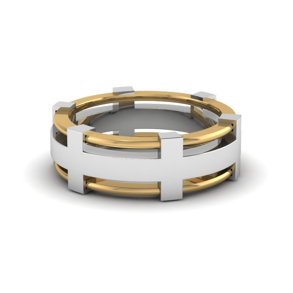 2 Tone Unique Male Wedding Rings