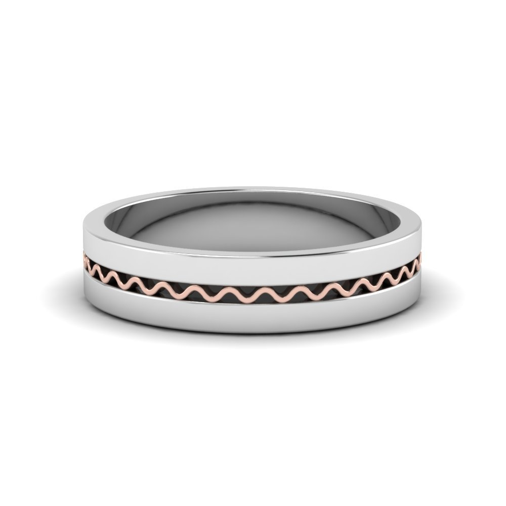 Mens Wave Comfort Fit 2 Tone Ring