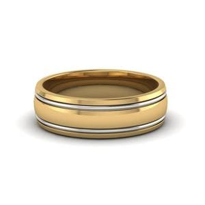 18K Yellow Gold Two Tone Mens Ring