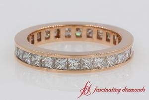 2 Carat Princess Cut Diamond Eternity Band In Rose Gold