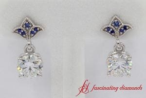 2 Carat Round Diamond Drop Earring With Sapphire In 18k White Gold