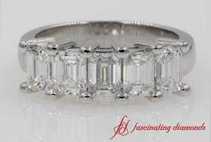 2 Ct. Diamond Emerald Cut 5 Stone Wedding Band In Platinum