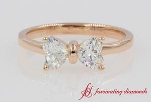 2 Heart Cut Bow Diamond Ring In Rose Gold