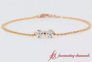 2 Heart Diamond Bow Design Bracelet In Rose Gold