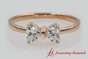 2 Heart Diamond Bow Design Ring In Rose Gold
