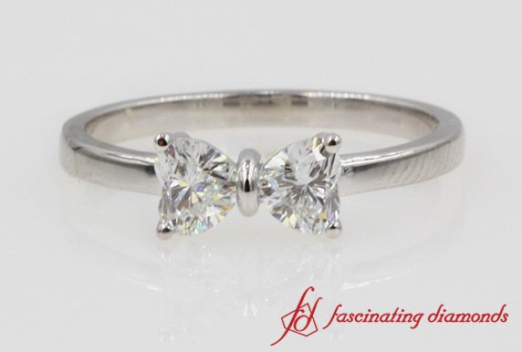 2 Heart Diamond Promise Ring In White Gold
