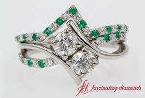 2 Stone Bypass Emerald Wedding Set In White Gold