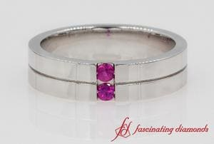 Pink Sapphire Mens Band