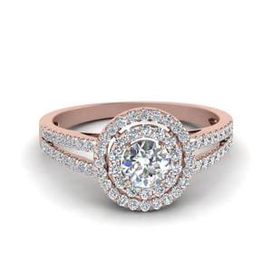 2 Carat Diamond Halo Split Shank Engagement Ring In 14K Rose Gold