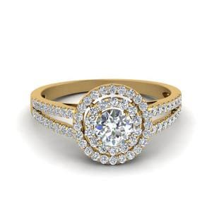 2 Carat Diamond Halo Split Shank Engagement Ring In 18K Yellow Gold