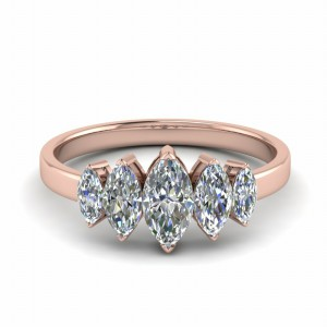 18K Rose Gold 2 Ct. Marquise Ring 5 Stone