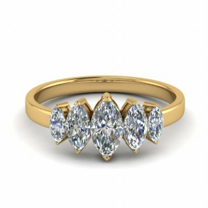 14K Yellow Gold Marquise Ring 5 Stone