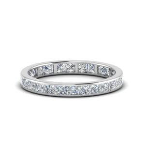 2 Carat Princess Cut Diamond Eternity Band In 14K White Gold