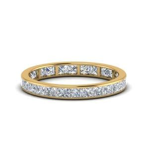 2 Carat Princess Cut Diamond Eternity Band In 14K Yellow Gold