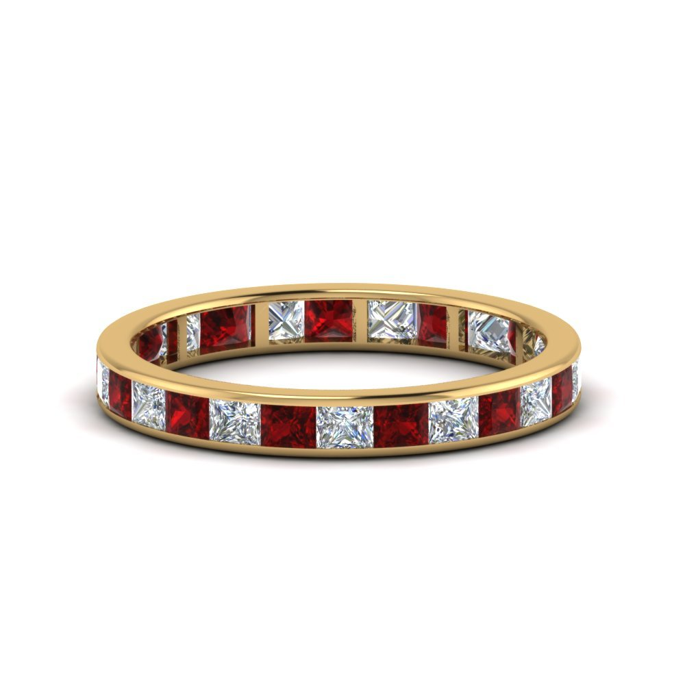 2 Ctw. Princess Eternity Band With Ruby