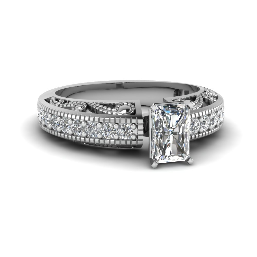 Radiant Diamond Pave Shank Ring