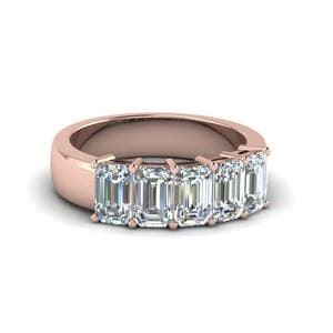 2 Ct. Emerald Cut 5 Stone Wedding Band
