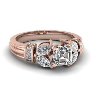 1.50 Ct. Diamond Vintage Petal Asscher Cut Engagement Ring In 18K Rose Gold