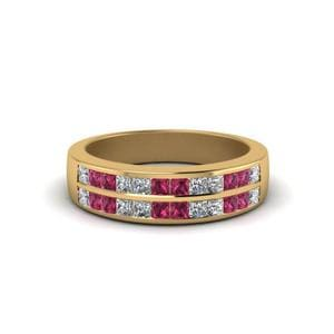 Pink Sapphire 2 Row Wedding Band