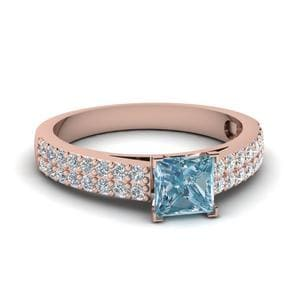 2 Row Aquamarine Engagement Ring In 14K Rose Gold