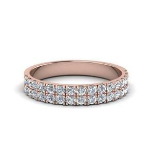 18K Rose Gold Double Row Diamond Band