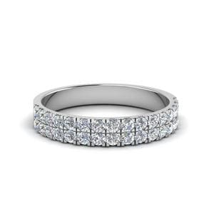 2 Row U Prong Diamond Band 0.40 Ct. In 18K White Gold