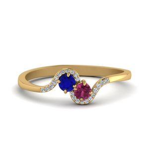 2 Sapphire With Diamond Twisted Ring