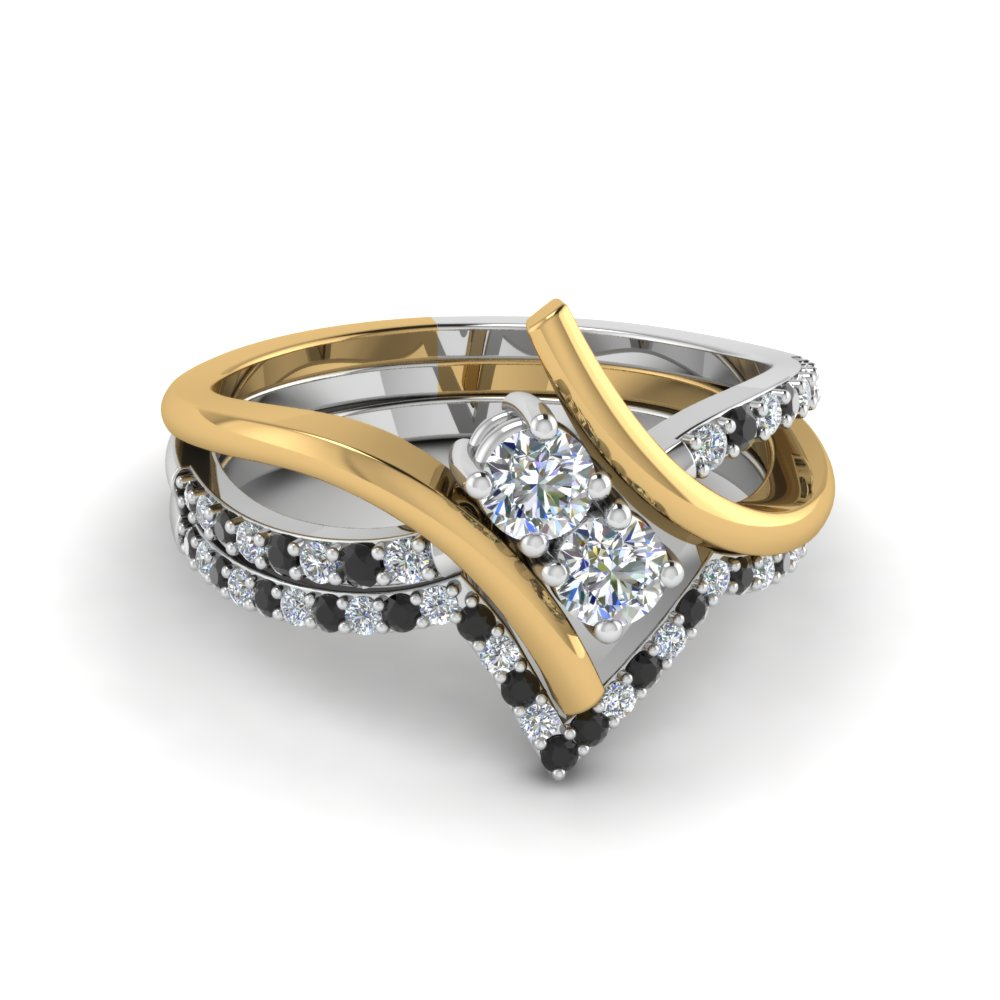 Black Diamond 2 Stone Ring And Band