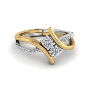 2 Stone Diamond Ring In Two Tone Gold