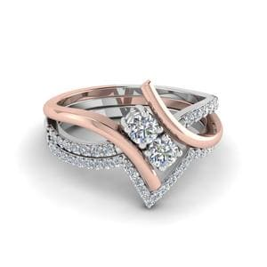 Two Tone Diamond Bridal Set