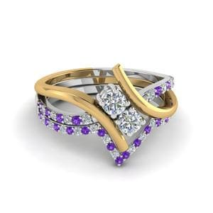 Purple Topaz Ring And Thin Band