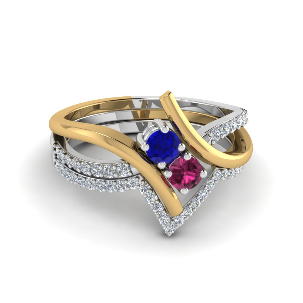 2 Stone Sapphire Twist Two Tone Bridal Set