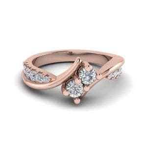 2 Stone Twist Diamond Alternate Engagement Ring In 14K Rose Gold