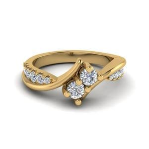 2 Stone Twist Diamond Alternate Engagement Ring In 14K Yellow Gold