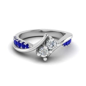 2 Stone Diamond Ring With Sapphire