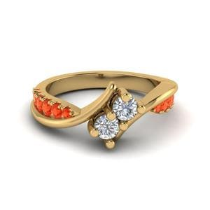 Orange Topaz Swirl Diamond Ring