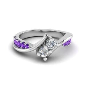 Purple Topaz White Gold Ring
