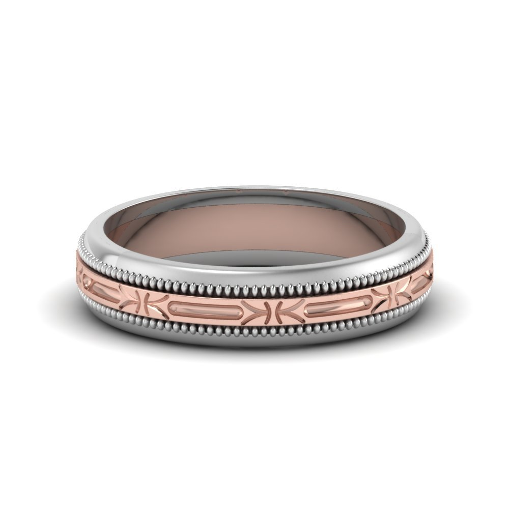 2 Tone Antique Design Wedding Band