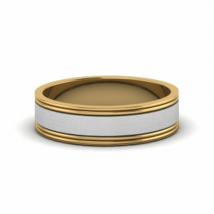 2 Tone Brushed Fit Mens Ring