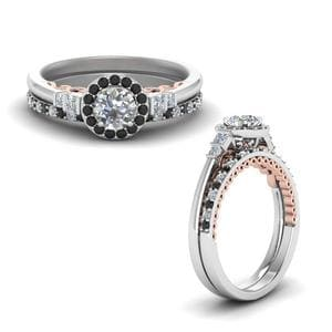 Black Diamond Halo Ring Set
