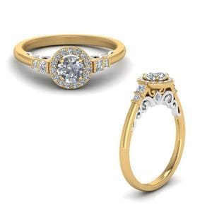 2 Tone Delicate Halo Diamond Ring