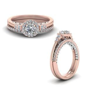 2 Tone Delicate Halo Wedding Set