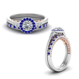 Delicate Halo Sapphire Ring Set