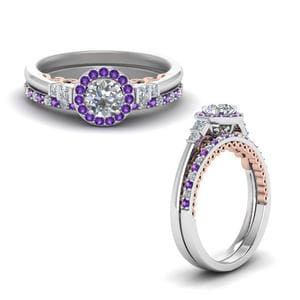 Purple Topaz Filigree Bridal Set