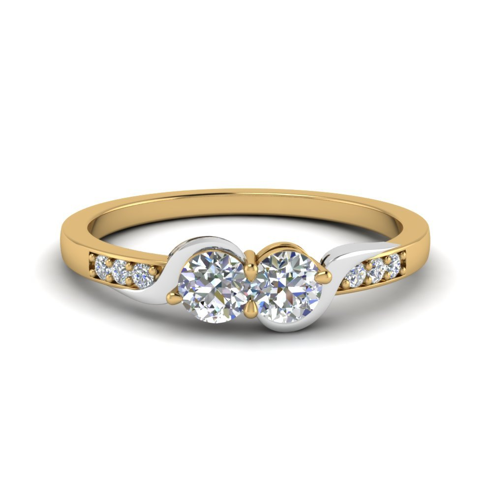 2 Tone Swirl Diamond Band