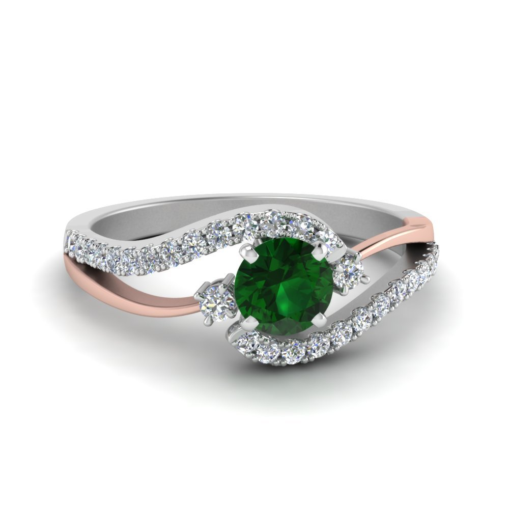 2 Tone Swirl Emerald Engagement ring