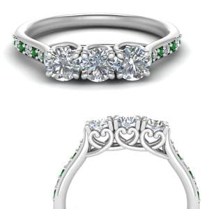 Heart Design Emerald Wedding Band