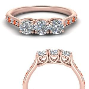 Pave Orange Topaz Wedding Band